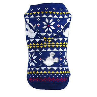 Cica Kutya Pulóverek Kapucnis felsőrész Kutyaruházat Karácsony Újévi Hópehely Piros Kék Jelmez Háziállatok számára
