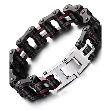 voordelige Heren Armband-Heren Armbanden met ketting en sluiting Modieus Roestvast staal Armband sieraden Zwart Voor Kerstcadeaus Feest Vuosipäivä Verjaardag Onnea valmistuminen