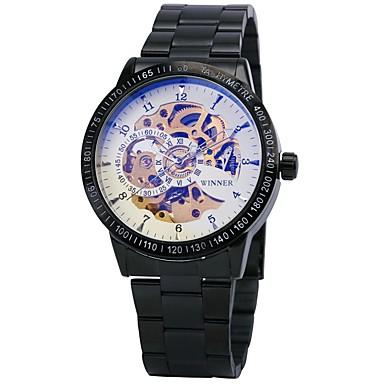 זול שעוני גברים-WINNER בגדי ריקוד גברים שעוני שלד שעון יד שעון מכני אוטומטי נמתח לבד מתכת אל חלד שחור / כסף 30 m עמיד במים חריתה חלולה זורח אנלוגי פאר וינטאג' - שחור זהב /  שחור כסף /  שחור / tachymeter