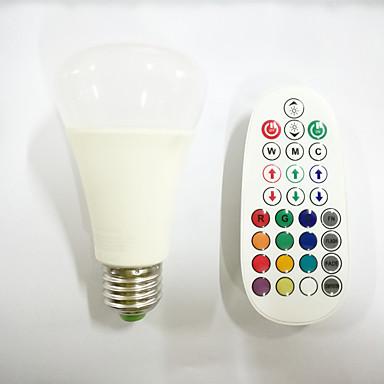 10 E26/E27 LED gömbbúrás izzók A60(A19) 16pcs X SMD 5730+2pcs X RGB 3W LED SMD 5730 800 lm RGBÁllítható / Hang-aktiválás / Távvezérlésű /