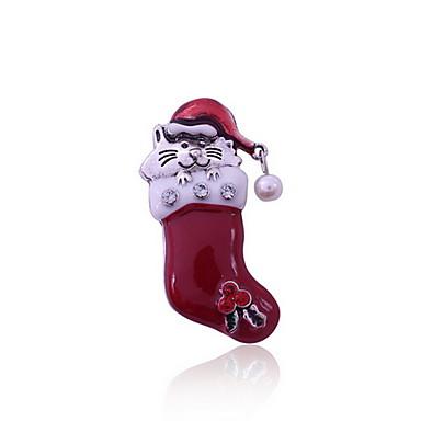 여성 브로치 Chrismas 유럽의 펄 Animal Shape 고양이 보석류 제품 일상 캐쥬얼 크리스마스 선물