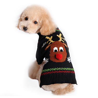 [$5.99] Cat Dog Sweater Dog Clothes Reindeer Black Cotton Costume For Pets Men's Women's Cute Holiday Christmas