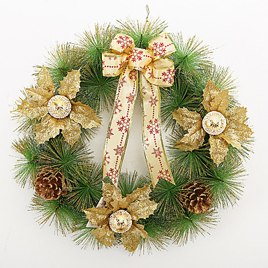 Boże Narodzenie wieniec igieł sosnowych 3 kolory dekoracji Boże Narodzenie w domu 40cm średnicy stroną navidad nowych materiałów