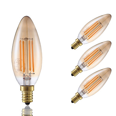 3.5W E12 LED Filament Bulbs B10 4 COB 300 lm Amber Dimmable / Decorative 120V 4 pcs