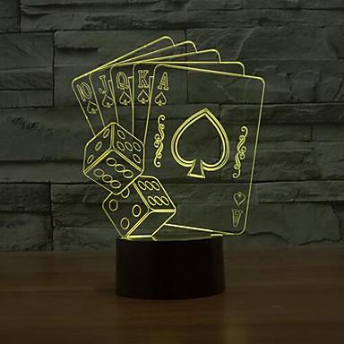 카드 놀이는 3 차원지도 디밍 터치 야간 조명 7colorful 장식 분위기 램프 참신 조명 크리스마스 조명