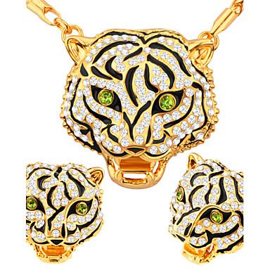 Női Ékszer készlet Nyaklánc / fülbevaló Kristály Szintetikus gyémánt Luxus Divat Esküvő Parti Napi Hétköznapi Arannyal bevont Naušnice