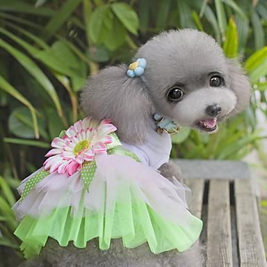 Kat Hond Jurken Hondenkleding Bloem Groen Roze Stof Kostuum Voor huisdieren Dames Schattig Modieus