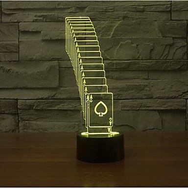 kártyázás érintse fényerő 3d led éjszakai fény 7colorful dekoráció hangulat lámpa újdonság világítás karácsonyi fény