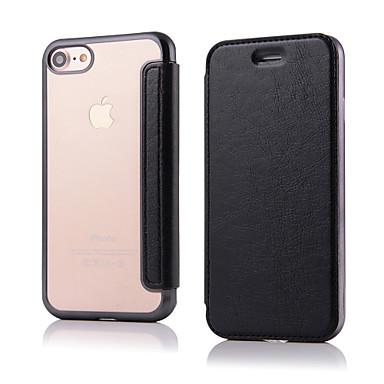 Na iPhone 8 iPhone 8 Plus iPhone 7 iPhone 6 Etui iPhone 5 Etui Pokrowce Flip Futerał Kılıf Solid Color Twarde Sztuczna skóra na Apple