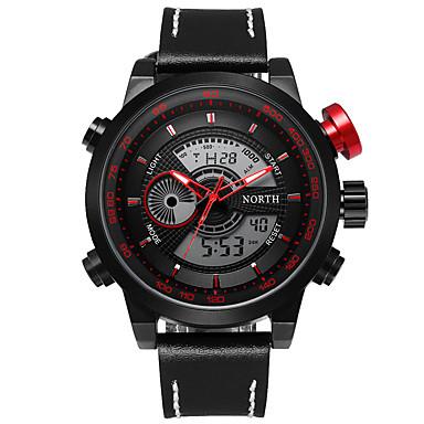 זול שעוני גברים-בגדי ריקוד גברים שעוני ספורט שעונים צבאיים שעון יד קווארץ עור שחור / אדום 30 m עמיד במים לוח שנה זורח אנלוגי-דיגיטלי פאר קלסי יום יומי אופנתי - שחור / אדום כחול אדום כהה שנתיים חיי סוללה / # / #