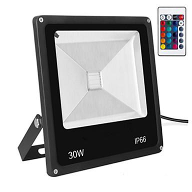 tanie Oświetlenie zewnętrzne-1 szt. 30 W Reflektory LED Wodoodporny / Zdalnie sterowany / Przygaszanie RGB 85-265 V Oświetlenie zwenętrzne / Dziedziniec / Ogród 1 Koraliki LED