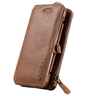 Недорогие Чехлы и кейсы для Galaxy S6 Edge-Кейс для Назначение SSamsung Galaxy S7 / S6 edge plus / S6 edge Кошелек / Бумажник для карт / со стендом Чехол Однотонный Твердый Настоящая кожа