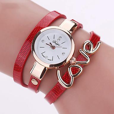 Bayanların Moda Saat Bilek Saati Bilezik Saat Renkli Quartz PU Bant Eski Tip Heart Shape Şeker Bohem İhtişam Halhal Havalı GünlükSiyah