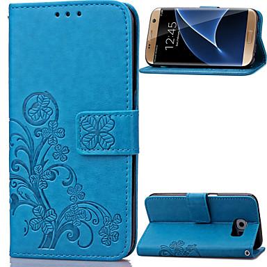 Недорогие Чехлы и кейсы для Galaxy S4 Mini-Кейс для Назначение SSamsung Galaxy S8 Plus / S8 / S7 edge Кошелек / Бумажник для карт / со стендом Чехол Цветы Кожа PU