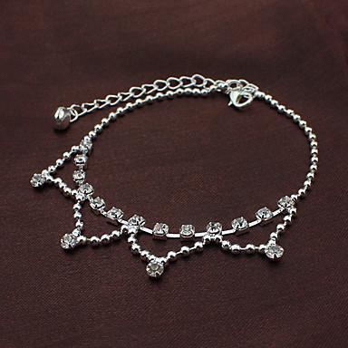 Kadın Ayak bileziği/Bilezikler Gümüş Kaplama Simüle Elmas Avrupa Çoklu Katman Mücevher Uyumluluk Düğün Günlük