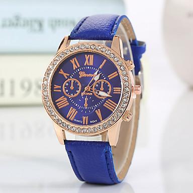 Geneva Damskie Kwarcowy Zegarek na nadgarstek sztuczna Diament PU Pasmo Urok / Błyszczące / Na co dzień / Modny Czarny / Biały / Czerwony