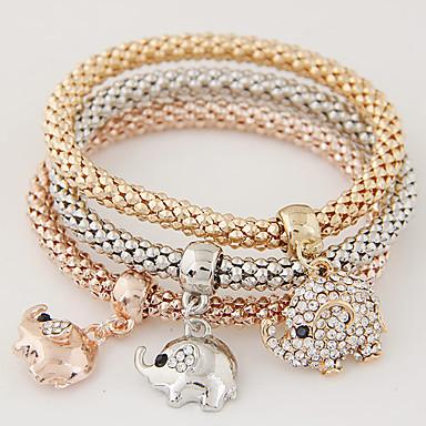 여성용 레이어드 / 스택 참 팔찌 - 라인석, 모조 다이아몬드 코끼리, 동물 사치, 유럽의, 미니멀 스타일 팔찌 무지개 제품 선물 / 일상