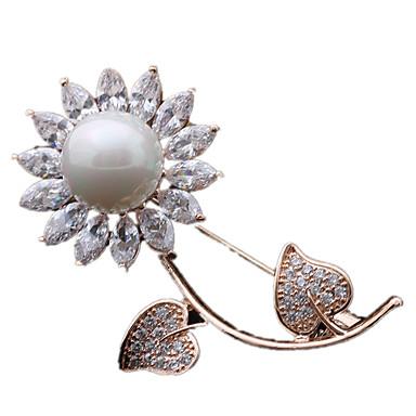 Kadın Broşlar minimalist tarzı lüks mücevher Zirkon Kübik Zirconia Flower Shape Papatya Mücevher Uyumluluk Günlük