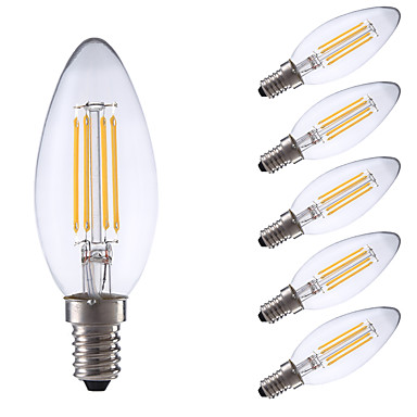 E14 LED-hehkulamput B 4 ledit COB Himmennettävissä Lämmin valkoinen Kylmä valkoinen 350/400lm 6500/2700K AC 220-240V