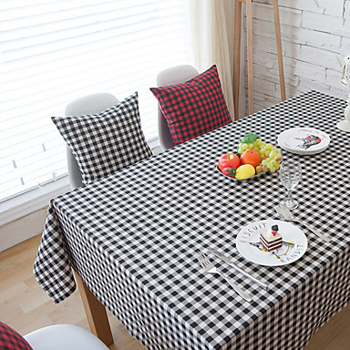 Kwadrat Bawełniany materiał w kratkę Obrusy , Mieszanka bawełny Materiał Hotel Stół Tabela Dceoration