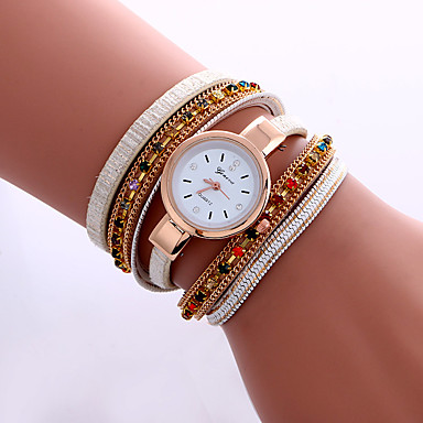 Damskie Modny Zegarek na nadgarstek Zegarek na bransoletce Sztuczny Diamant Zegarek Kwarcowy Kolorowy sztuczna Diament PU PasmoPostarzane