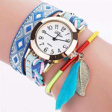 Xu™ السيدات ساعات فاشن ساعة المعصم كوارتز PU فرقة عتيقة أوراق عادية أسود الأبيض أزرق أحمر بني الوردي أسود فوشيا بني أزرق زهري