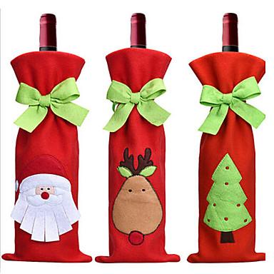 3PC 뜨거운 판매 크리스마스 장식 산타 클로스 눈사람 레드 와인 병 커버