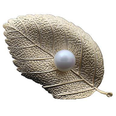Kadın's Leaf Shape İnci Broşlar - Lüks Altın / Gümüş / Altın Broş Uyumluluk Günlük