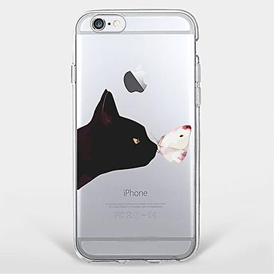 용 울트라 씬 / 투명 / 패턴 케이스 뒷면 커버 케이스 고양이 소프트 TPU Apple 아이폰 7 플러스 / 아이폰 (7) / iPhone 6s Plus/6 Plus / iPhone 6s/6 / iPhone SE/5s/5