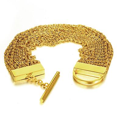 Miesten Naisten Ranneketjut Monitaso Ruostumaton teräs Gold Plated Korut Käyttötarkoitus Häät Party Syntymäpäivä Päivittäin Kausaliteetti