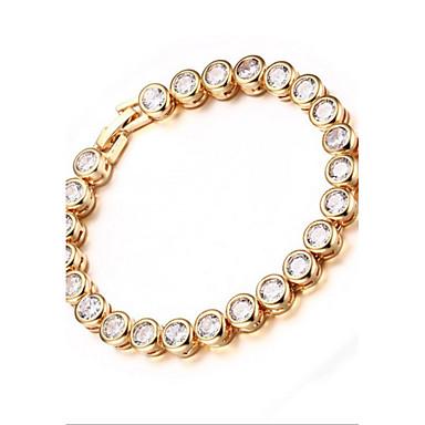 Γυναικεία Βραχιόλια με Αλυσίδα & Κούμπωμα Μοντέρνα Εξατομικευόμενο Ζιρκονίτης Cubic Zirconia Circle Shape Κοσμήματα ΓιαΠάρτι Γενέθλια