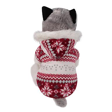 Perro Abrigos Saco y Capucha Ropa para Perro Reversible Mantiene abrigado Navidad Copo Marrón Rojo Disfraz Para mascotas