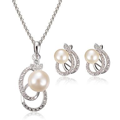 Σετ Κοσμημάτων Μοντέρνα κοσμήματα πολυτελείας Μαργαριτάρι απομίμηση διαμαντιών Cross Shape Λευκό 1 Κολιέ 1 Ζευγάρι σκουλαρίκια ΓιαΓάμου