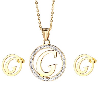 Γυναικεία Σετ Κοσμημάτων Στρας αρχική Κοσμήματα Ανοξείδωτο Ατσάλι 1 Κολιέ 1 Ζευγάρι σκουλαρίκια Για Πάρτι Καθημερινά Causal Δώρα Γάμου