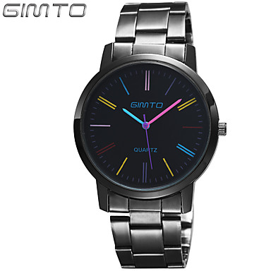 Men's Wrist watch Quartz Casual Watch Stainless Steel Band Charm Black