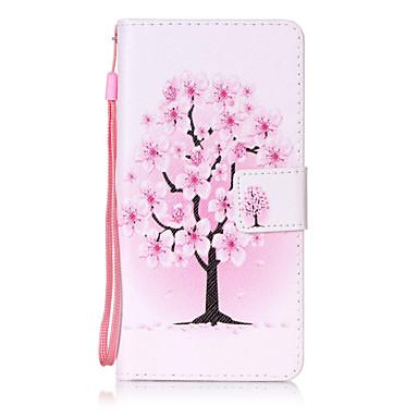 Huawei p8 lite p9 için kılıf örtüsü çiçek ağacı desen boyama kartı stent pu deri