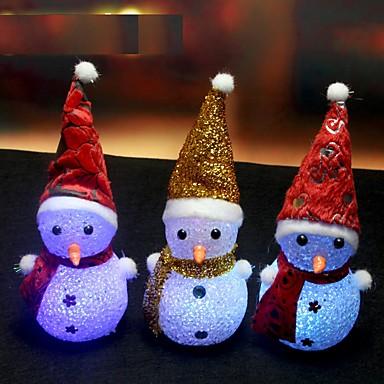 1kpl värinvaihto johti lumiukko joulu koristella mielialan lamppu yövalo xmas tree riippuva ornamentti ramdon väri