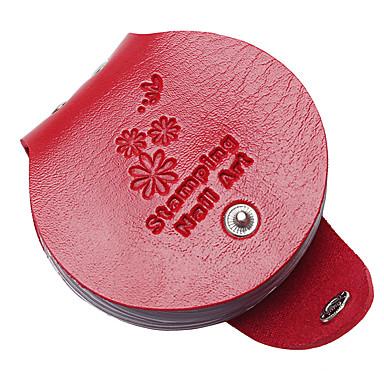 1szt 6 kolor płytki paznokciowej pakietów okrągłe płytki do stemplowania kart pusty szablon przypadku posiadacz organizator 8cm * 9cm