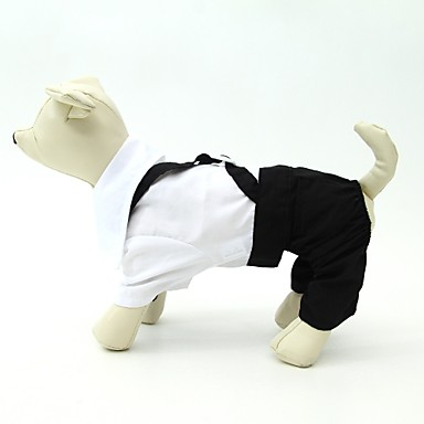 Pies Kostiumy Smokin Ubrania dla psów Urocza Urodziny Ślub Wielokolorowa Black/White Kostium Dla zwierząt domowych