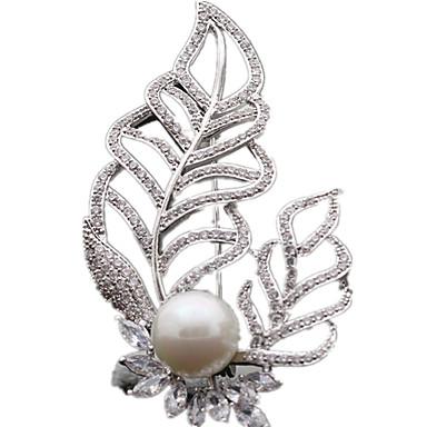 Naisten Rintaneulat ylellisyyttä koruja Zirkoni Cubic Zirkonia Leaf Shape Korut Käyttötarkoitus Päivittäin