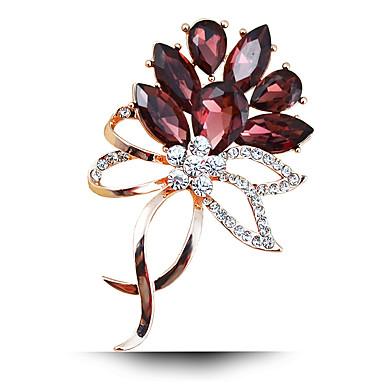 kadın moda alaşım / yapay elmas / kristal çiçek broş pin parti / günlük / düğün lüks mücevher 1pc
