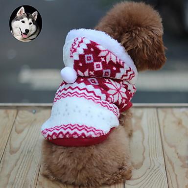 고양이 강아지 코트 후드 강아지 의류 눈송이 브라운 레드 블루 면 코스츔 애완 동물 남성용 여성용 따뜻함 유지 패션