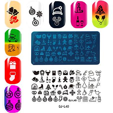 rechthoekige plaat manicure printing template Kerstmis serie