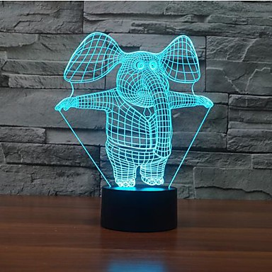 1 db 3D éjszakai fény Többszínű Érzékelő Tompítható Vízálló Színváltós