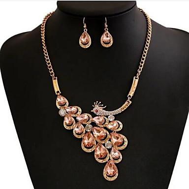 Pentru femei Ștras Păun Set bijuterii 1 Colier / 1 Pereche de Cercei - Păun Alb / Maro deschis Seturi de bijuterii Pentru Nuntă /