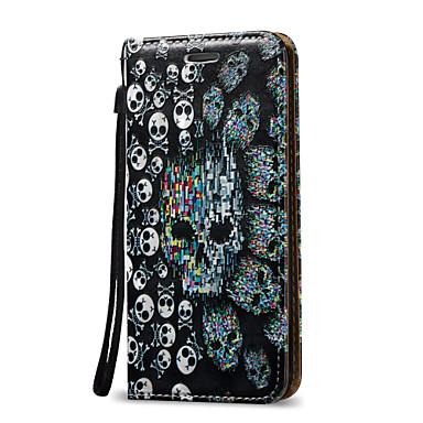 Için Kart Tutucu / Satandlı / Flip Pouzdro Tam Kaplama Pouzdro Kafatası Sert PU Deri için AppleiPhone 7 Plus / iPhone 7 / iPhone 6s