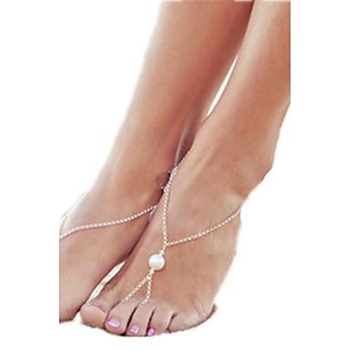 Kadın's Ayak bileziği / Bilezikler İnci alaşım İfade Takıları minimalist tarzı Avrupa Ayak bileziği Mücevher Uyumluluk Günlük Kumsal