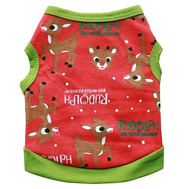 Σκυλιά Φανέλα Ρούχα για σκύλους Χειμώνας Καλοκαίρι Τάρανδος Cute Μοντέρνα Χριστούγεννα Μαύρο Πράσινο
