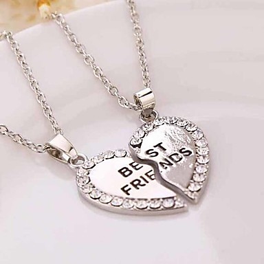 cheap Necklaces-Women's Couple's Pendant Necklace Y Necklace Broken Heart Heart Flower Love life Tree Best Friends Ladies European Fashion Sister Rhinestone Silver Plated Gold Plated Gold Silver 50cm Necklace Jewelry