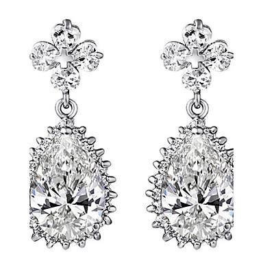 Damla Küpeler top Küpe Zirkon Beyaz Mücevher Için Düğün Parti Günlük 1 çift